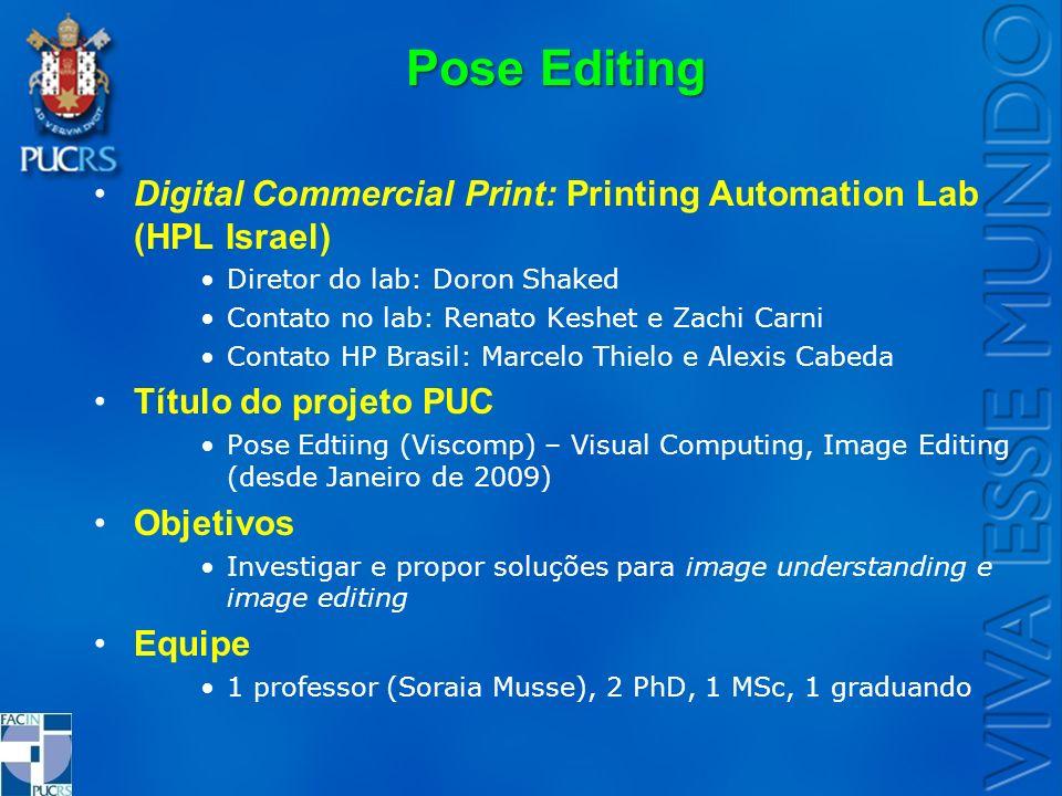 Pose Editing Digital Commercial Print: Printing Automation Lab (HPL Israel) Diretor do lab: Doron Shaked Contato no lab: Renato Keshet e Zachi Carni C