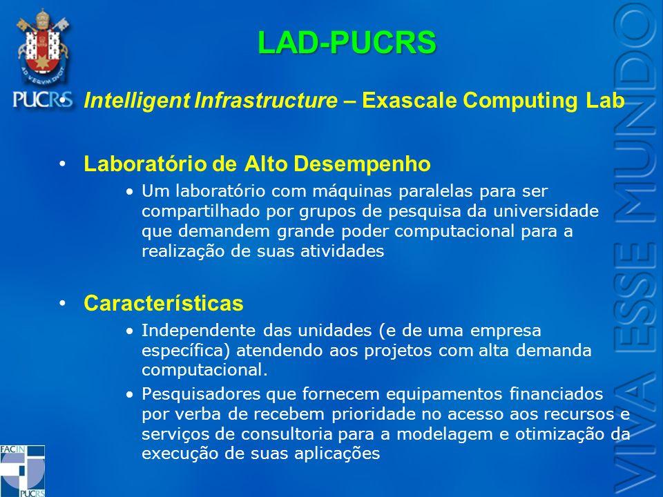 LAD-PUCRS Intelligent Infrastructure – Exascale Computing Lab Laboratório de Alto Desempenho Um laboratório com máquinas paralelas para ser compartilh