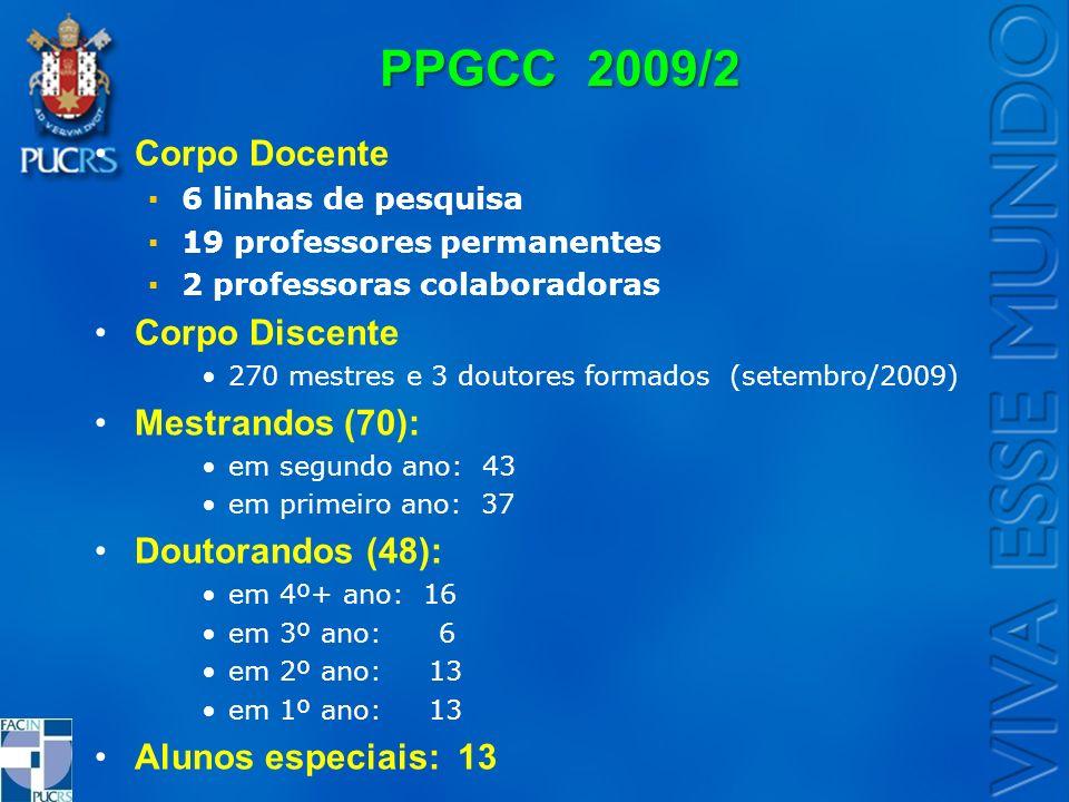 PPGCC 2009/2 Corpo Docente 6 linhas de pesquisa 19 professores permanentes 2 professoras colaboradoras Corpo Discente 270 mestres e 3 doutores formado