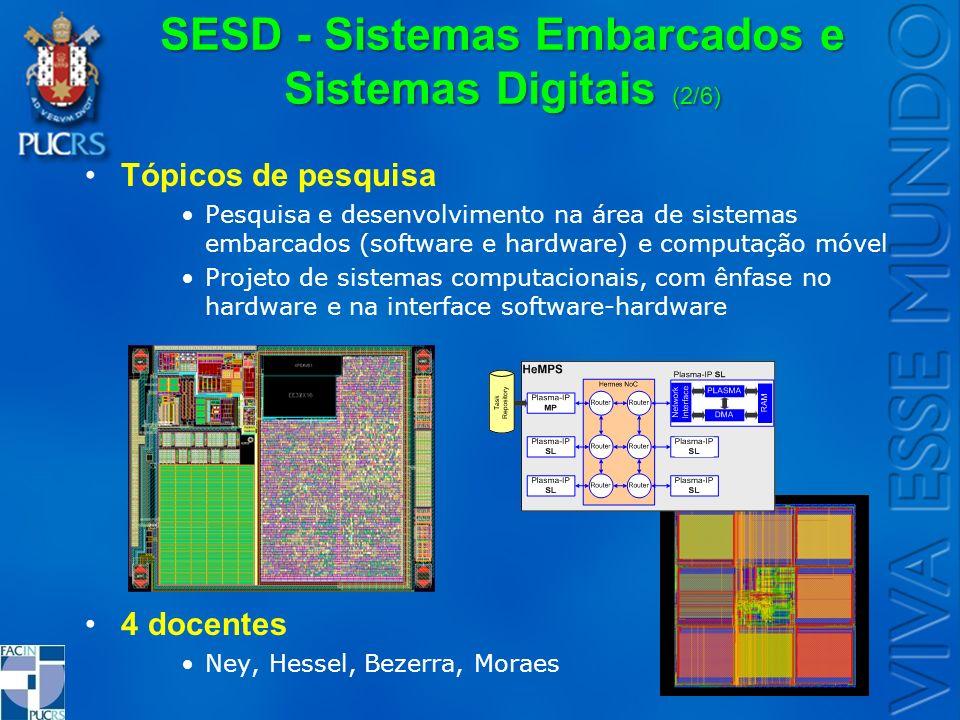 SESD - Sistemas Embarcados e Sistemas Digitais (2/6) Tópicos de pesquisa Pesquisa e desenvolvimento na área de sistemas embarcados (software e hardwar