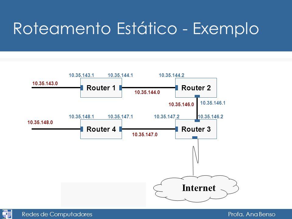 Redes de Computadores Profa. Ana Benso Roteamento Estático - Exemplo 10.35.143.0 Router 1 10.35.144.0 10.35.143.1 Router 2 10.35.144.110.35.144.2 Rout