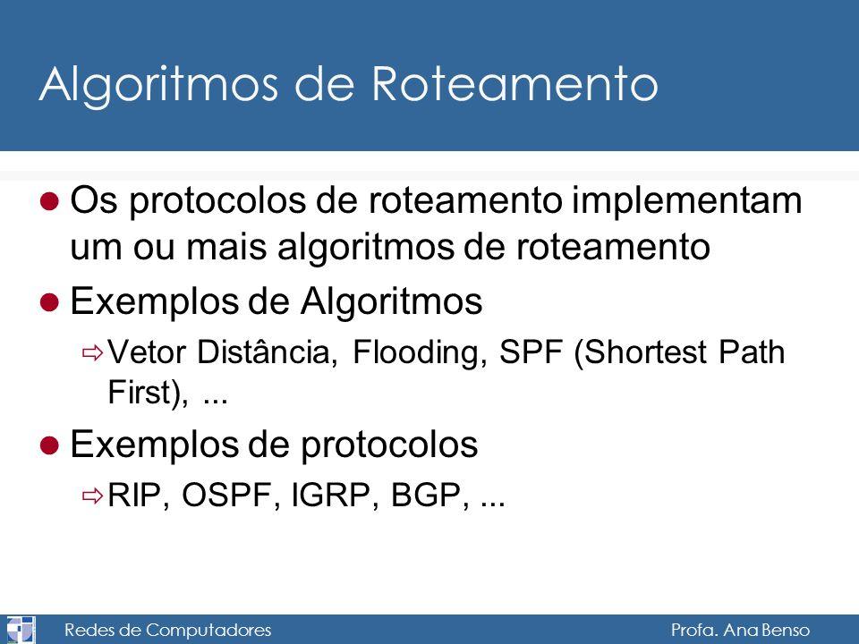 Redes de Computadores Profa. Ana Benso Algoritmos de Roteamento Os protocolos de roteamento implementam um ou mais algoritmos de roteamento Exemplos d