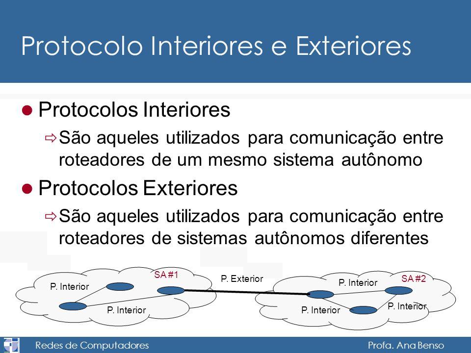 Redes de Computadores Profa. Ana Benso Protocolo Interiores e Exteriores Protocolos Interiores São aqueles utilizados para comunicação entre roteadore