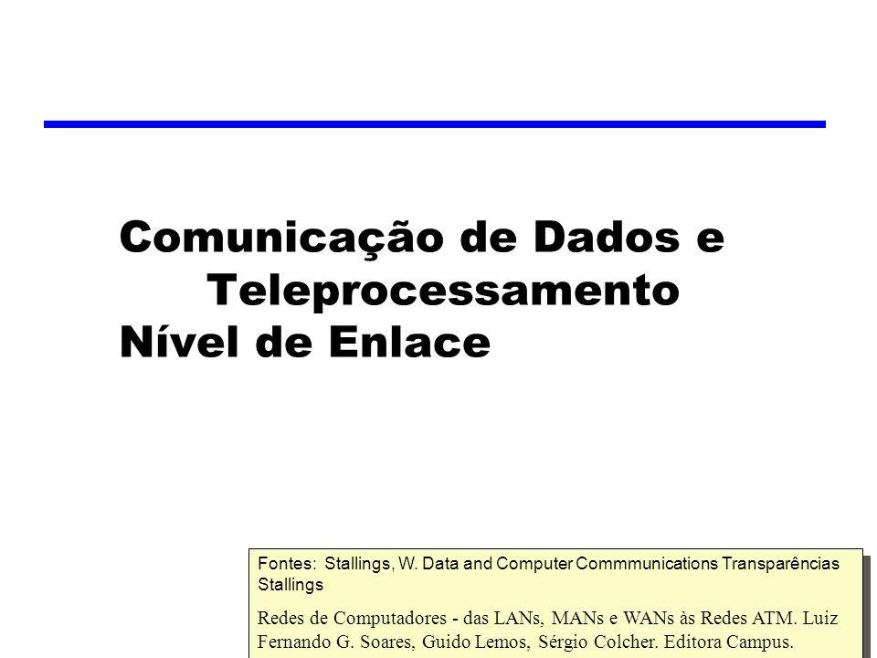 Comunicação de Dados e Teleprocessamento Nível de Enlace Fontes: Stallings, W.