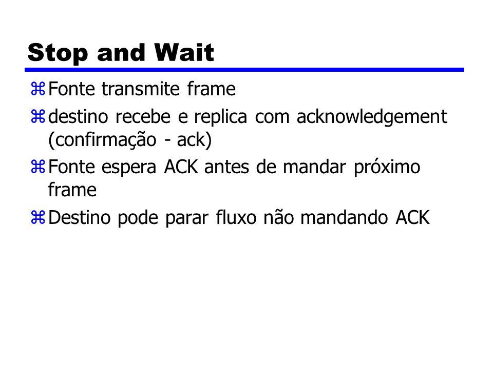 Stop and Wait zFonte transmite frame zdestino recebe e replica com acknowledgement (confirmação - ack) zFonte espera ACK antes de mandar próximo frame zDestino pode parar fluxo não mandando ACK