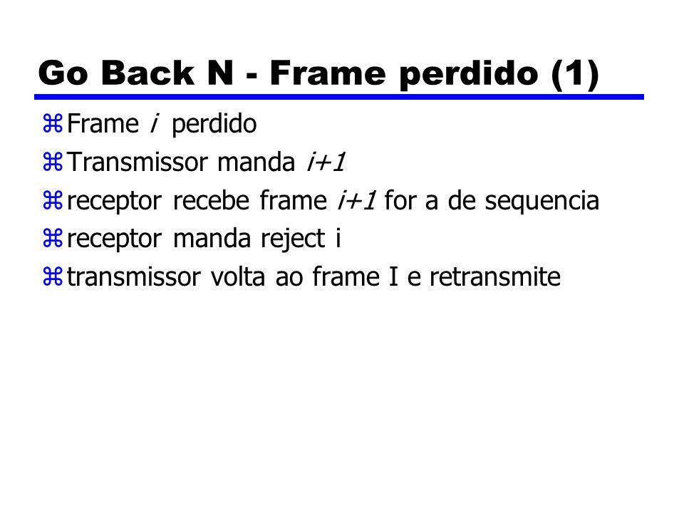 Go Back N - Frame perdido (1) zFrame i perdido zTransmissor manda i+1 zreceptor recebe frame i+1 for a de sequencia zreceptor manda reject i ztransmissor volta ao frame I e retransmite