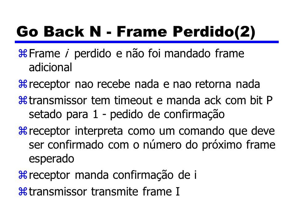 Go Back N - Frame Perdido(2) zFrame i perdido e não foi mandado frame adicional zreceptor nao recebe nada e nao retorna nada ztransmissor tem timeout e manda ack com bit P setado para 1 - pedido de confirmação zreceptor interpreta como um comando que deve ser confirmado com o número do próximo frame esperado zreceptor manda confirmação de i ztransmissor transmite frame I