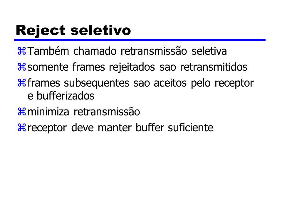 Reject seletivo zTambém chamado retransmissão seletiva zsomente frames rejeitados sao retransmitidos zframes subsequentes sao aceitos pelo receptor e bufferizados zminimiza retransmissão zreceptor deve manter buffer suficiente
