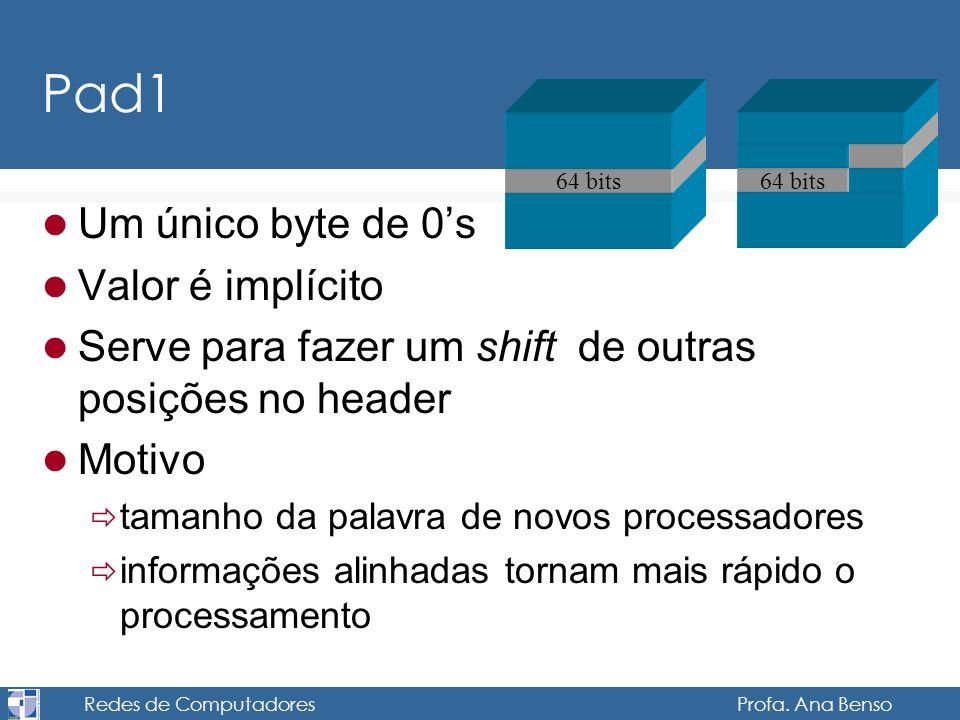 Redes de Computadores Profa. Ana Benso Pad1 Um único byte de 0s Valor é implícito Serve para fazer um shift de outras posições no header Motivo tamanh