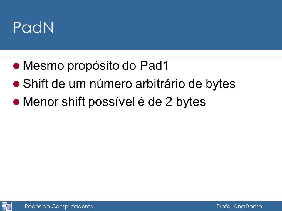 Redes de Computadores Profa. Ana Benso PadN Mesmo propósito do Pad1 Shift de um número arbitrário de bytes Menor shift possível é de 2 bytes