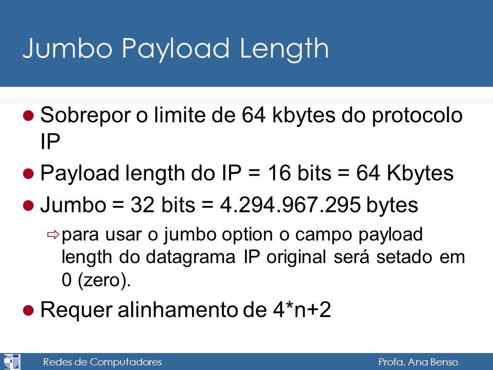 Redes de Computadores Profa. Ana Benso Jumbo Payload Length Sobrepor o limite de 64 kbytes do protocolo IP Payload length do IP = 16 bits = 64 Kbytes