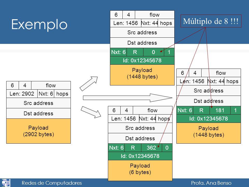 Redes de Computadores Profa. Ana Benso Exemplo 64flow Len: 2902Nxt: 6hops Src address Dst address Payload (2902 bytes) 64flow Len: 1456Nxt: 44hops Src