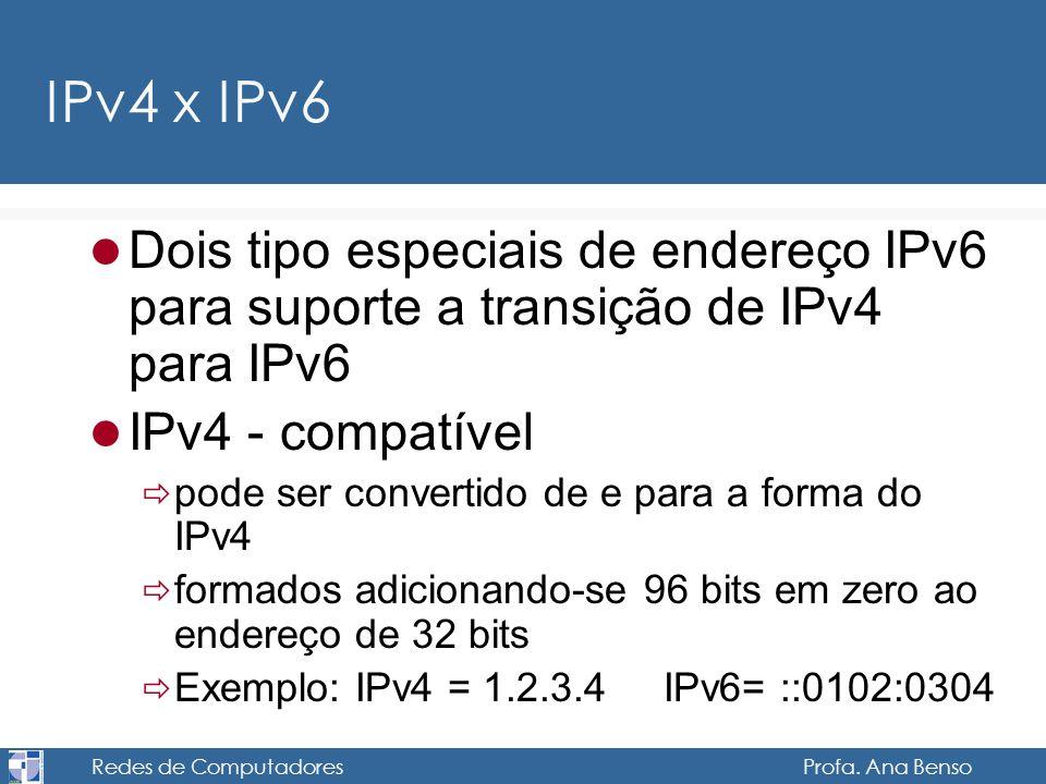Redes de Computadores Profa. Ana Benso IPv4 x IPv6 Dois tipo especiais de endereço IPv6 para suporte a transição de IPv4 para IPv6 IPv4 - compatível p