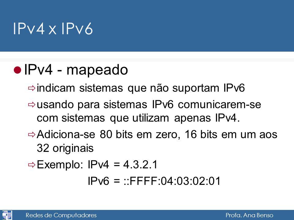 Redes de Computadores Profa. Ana Benso IPv4 x IPv6 IPv4 - mapeado indicam sistemas que não suportam IPv6 usando para sistemas IPv6 comunicarem-se com