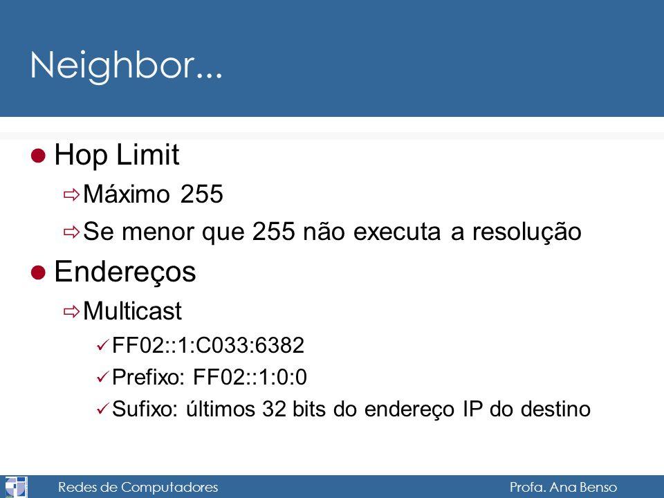 Redes de Computadores Profa. Ana Benso Neighbor... Hop Limit Máximo 255 Se menor que 255 não executa a resolução Endereços Multicast FF02::1:C033:6382