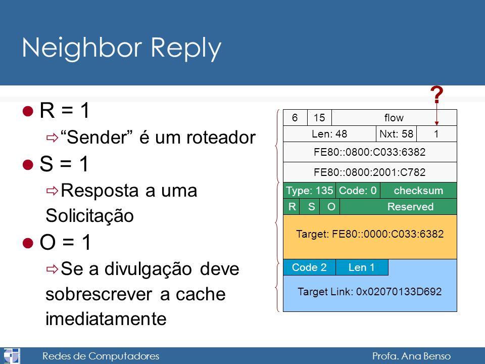 Redes de Computadores Profa. Ana Benso Neighbor Reply R = 1 Sender é um roteador S = 1 Resposta a uma Solicitação O = 1 Se a divulgação deve sobrescre