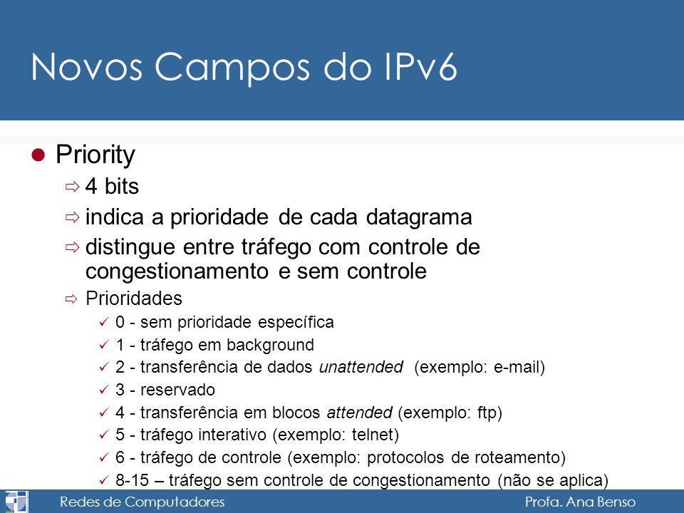 Redes de Computadores Profa. Ana Benso Novos Campos do IPv6 Priority 4 bits indica a prioridade de cada datagrama distingue entre tráfego com controle