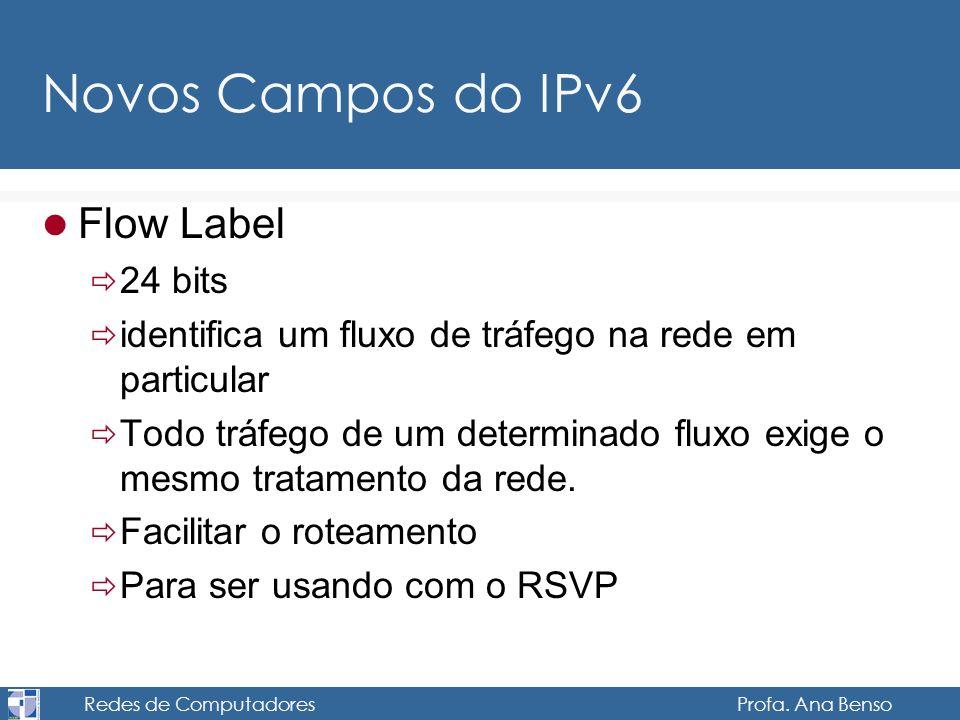 Redes de Computadores Profa. Ana Benso Novos Campos do IPv6 Flow Label 24 bits identifica um fluxo de tráfego na rede em particular Todo tráfego de um