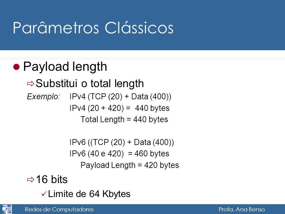 Redes de Computadores Profa. Ana Benso Parâmetros Clássicos Payload length Substitui o total length Exemplo: IPv4 (TCP (20) + Data (400)) IPv4 (20 + 4