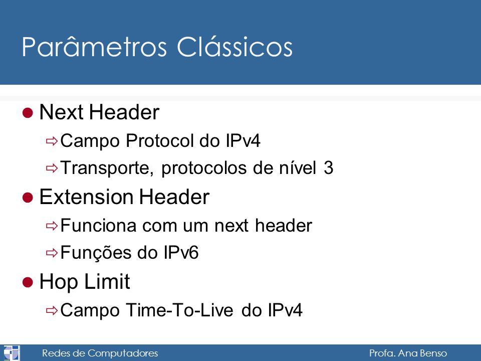 Redes de Computadores Profa. Ana Benso Parâmetros Clássicos Next Header Campo Protocol do IPv4 Transporte, protocolos de nível 3 Extension Header Func