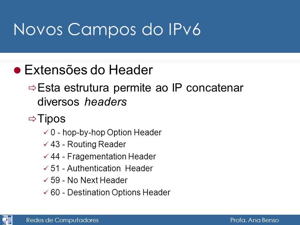 Redes de Computadores Profa. Ana Benso Novos Campos do IPv6 Extensões do Header Esta estrutura permite ao IP concatenar diversos headers Tipos 0 - hop