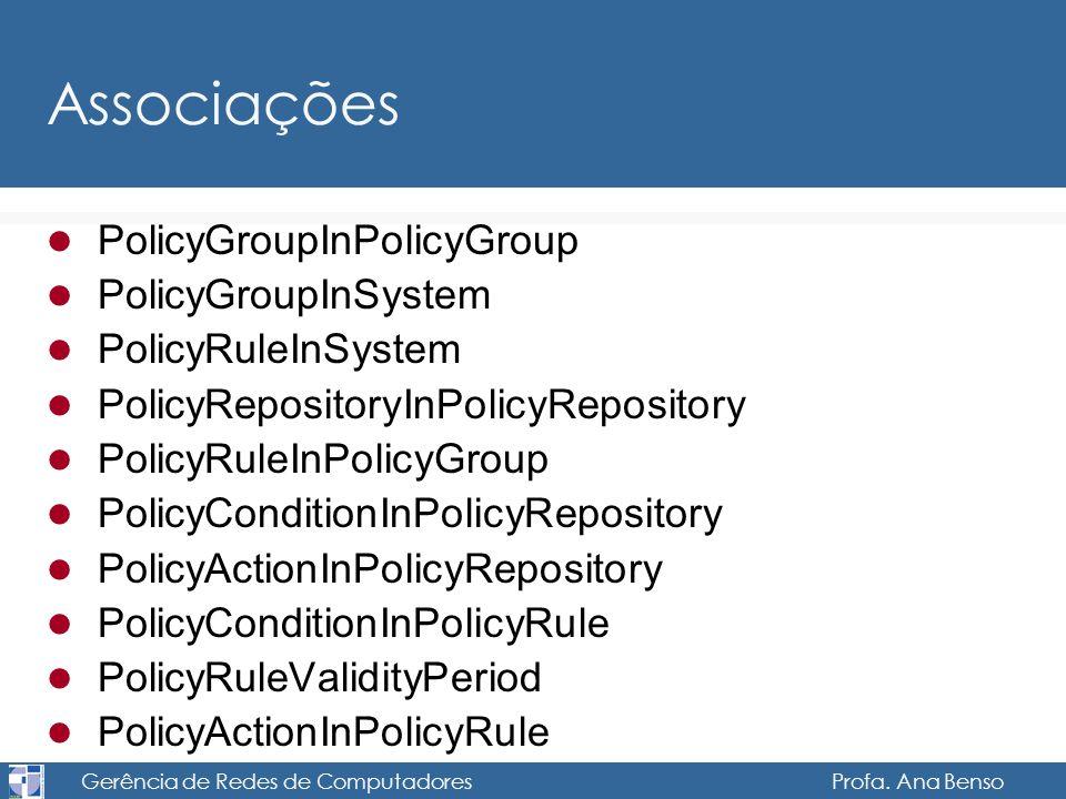 Gerência de Redes de Computadores Profa. Ana Benso Associações PolicyGroupInPolicyGroup PolicyGroupInSystem PolicyRuleInSystem PolicyRepositoryInPolic