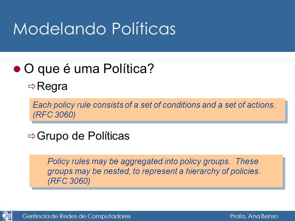 Gerência de Redes de Computadores Profa. Ana Benso Modelando Políticas O que é uma Política? Regra Grupo de Políticas Each policy rule consists of a s