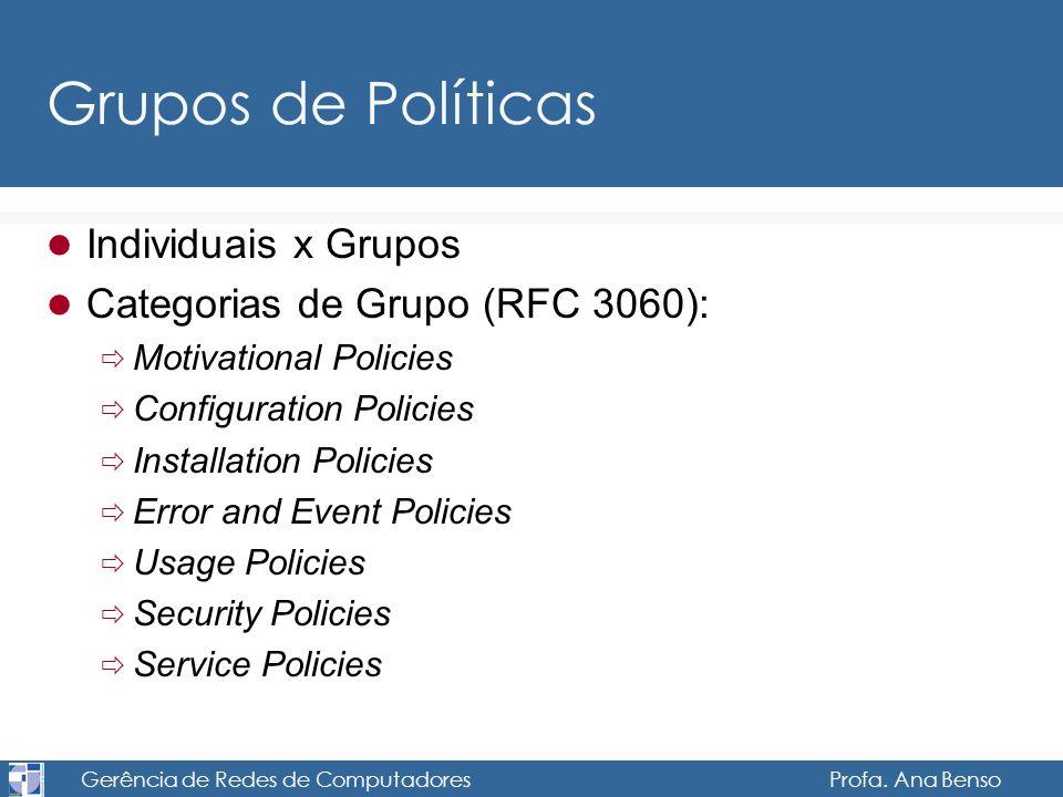 Gerência de Redes de Computadores Profa. Ana Benso Grupos de Políticas Individuais x Grupos Categorias de Grupo (RFC 3060): Motivational Policies Conf