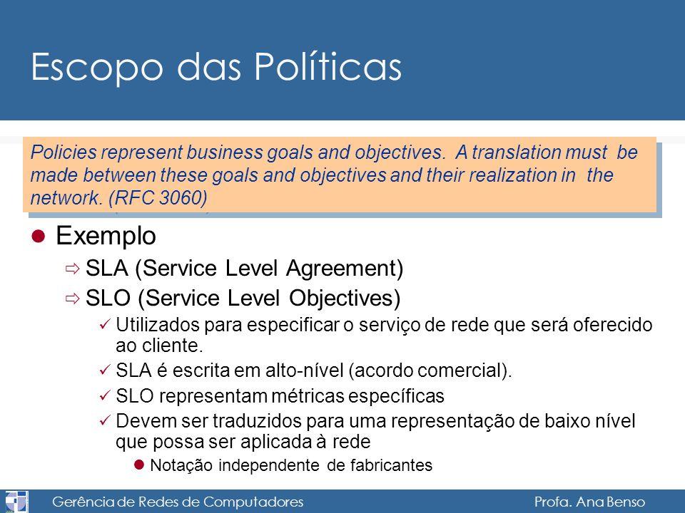Gerência de Redes de Computadores Profa. Ana Benso Escopo das Políticas Exemplo SLA (Service Level Agreement) SLO (Service Level Objectives) Utilizado