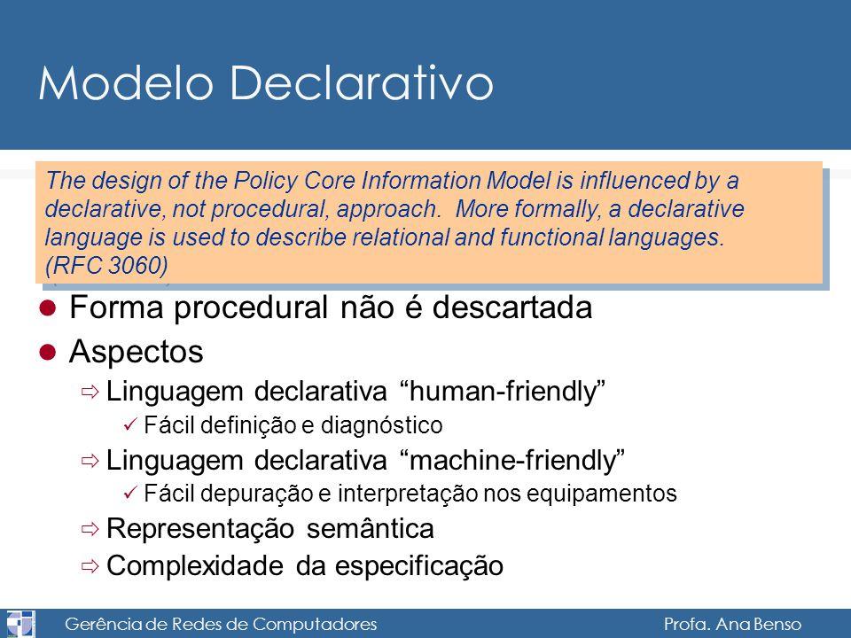 Gerência de Redes de Computadores Profa. Ana Benso Modelo Declarativo Forma procedural não é descartada Aspectos Linguagem declarativa human-friendly