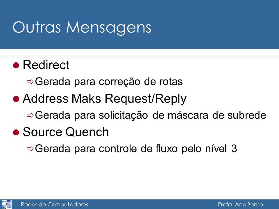 Redes de Computadores Profa. Ana Benso Outras Mensagens Redirect Gerada para correção de rotas Address Maks Request/Reply Gerada para solicitação de m