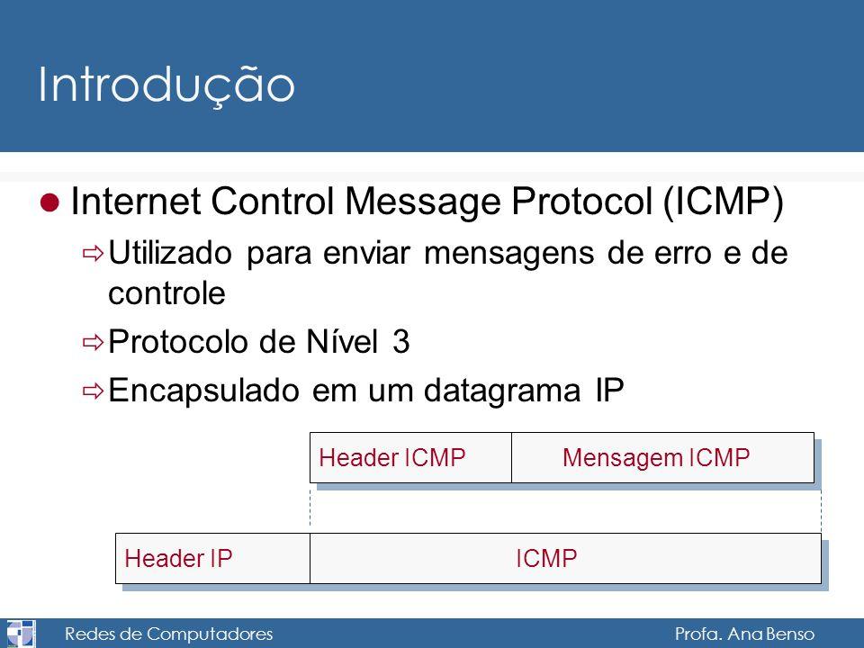 Redes de Computadores Profa. Ana Benso Introdução Internet Control Message Protocol (ICMP) Utilizado para enviar mensagens de erro e de controle Proto