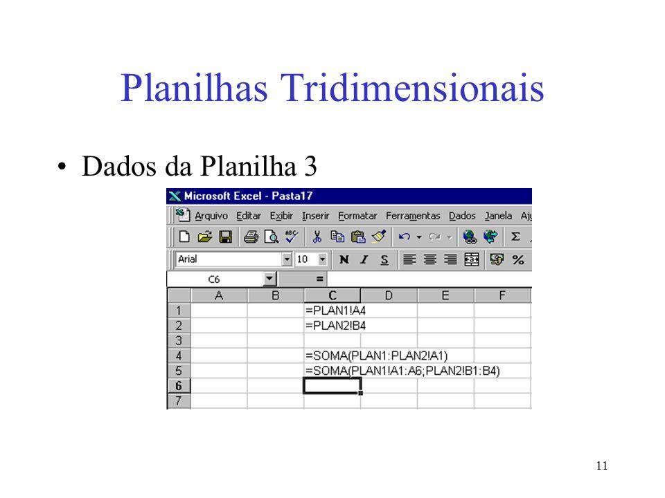 11 Planilhas Tridimensionais Dados da Planilha 3