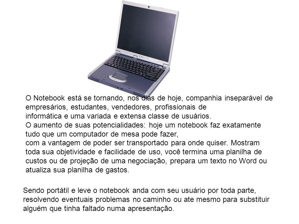 Sendo portátil e leve o notebook anda com seu usuário por toda parte, resolvendo eventuais problemas no caminho ou ate mesmo para substituir alguém que tinha faltado numa apresentação.