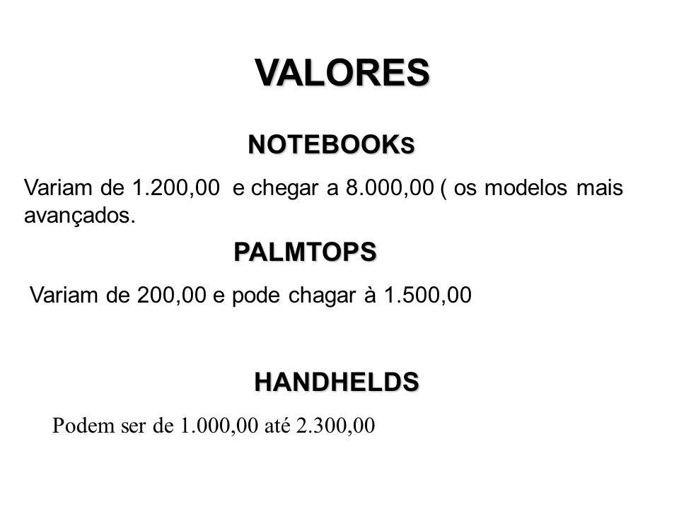 VALORES NOTEBOOK S Variam de 1.200,00 e chegar a 8.000,00 ( os modelos mais avançados.