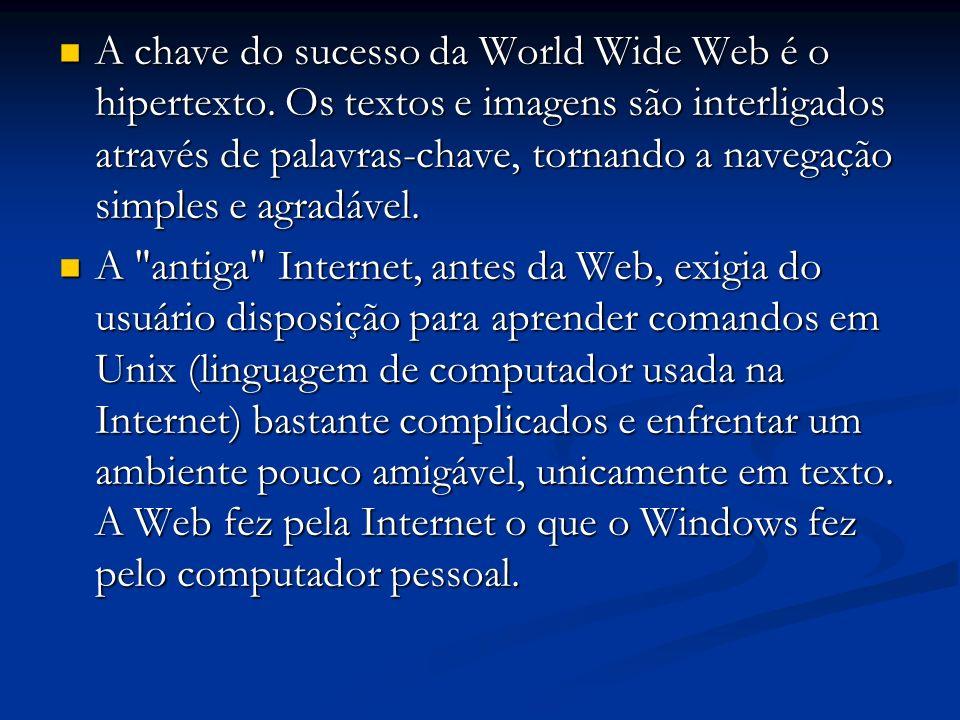 A chave do sucesso da World Wide Web é o hipertexto. Os textos e imagens são interligados através de palavras-chave, tornando a navegação simples e ag