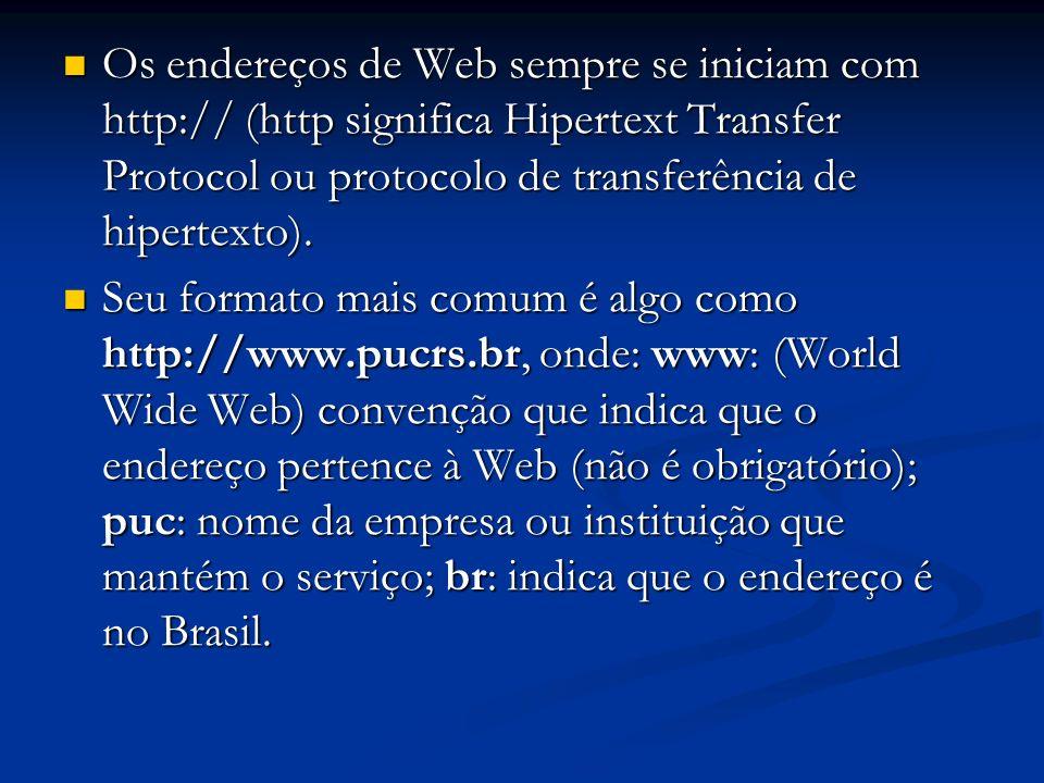 Os endereços de Web sempre se iniciam com http:// (http significa Hipertext Transfer Protocol ou protocolo de transferência de hipertexto). Os endereç