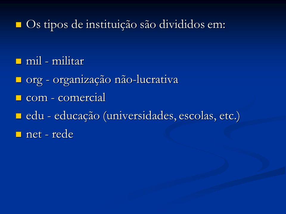 Os tipos de instituição são divididos em: Os tipos de instituição são divididos em: mil - militar mil - militar org - organização não-lucrativa org -