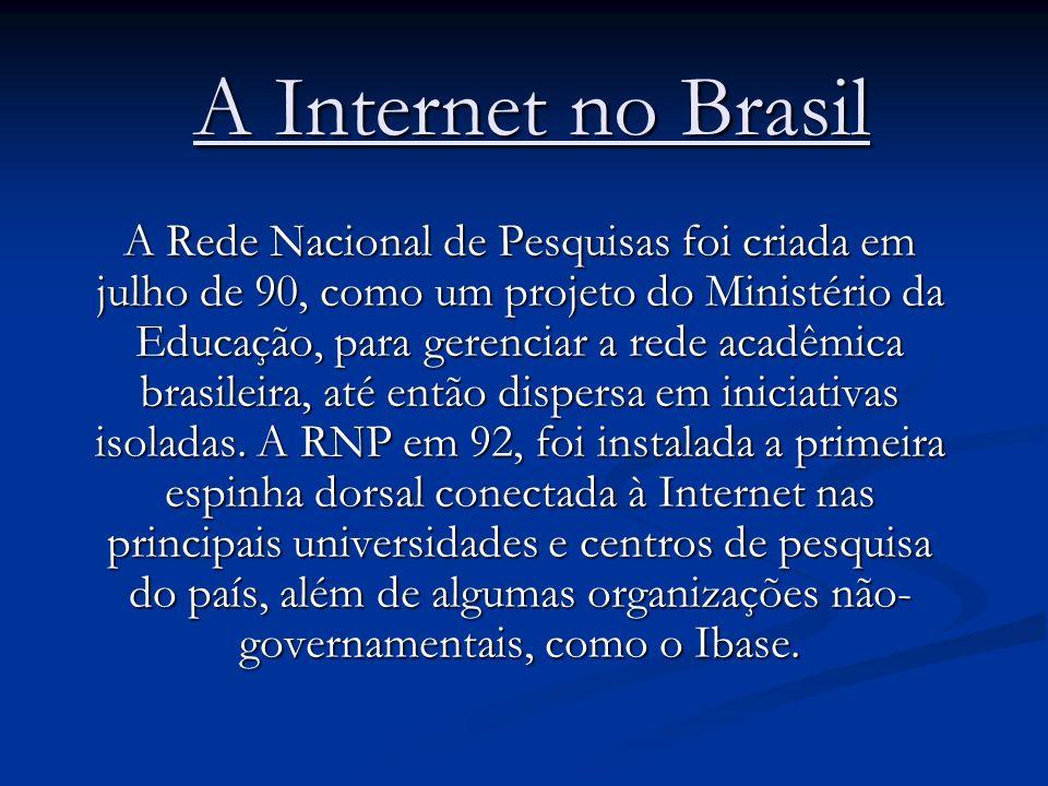 A Internet no Brasil A Rede Nacional de Pesquisas foi criada em julho de 90, como um projeto do Ministério da Educação, para gerenciar a rede acadêmic