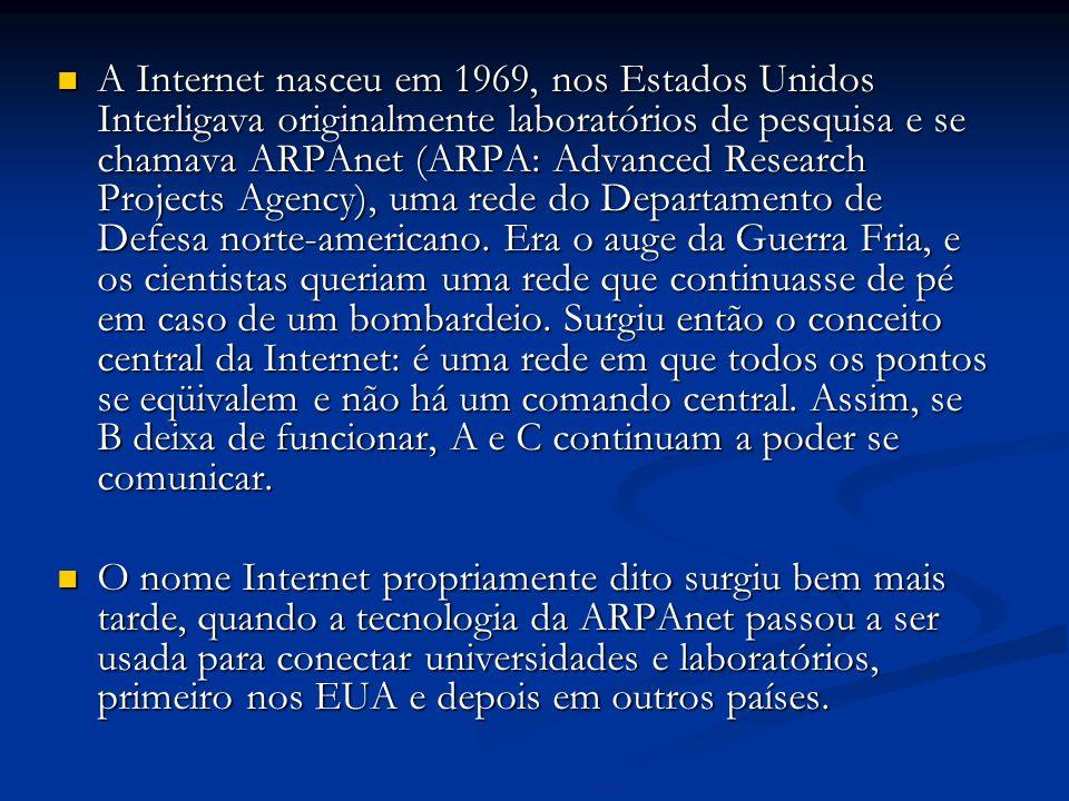 A Internet nasceu em 1969, nos Estados Unidos Interligava originalmente laboratórios de pesquisa e se chamava ARPAnet (ARPA: Advanced Research Project