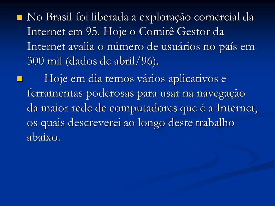 No Brasil foi liberada a exploração comercial da Internet em 95. Hoje o Comitê Gestor da Internet avalia o número de usuários no país em 300 mil (dado