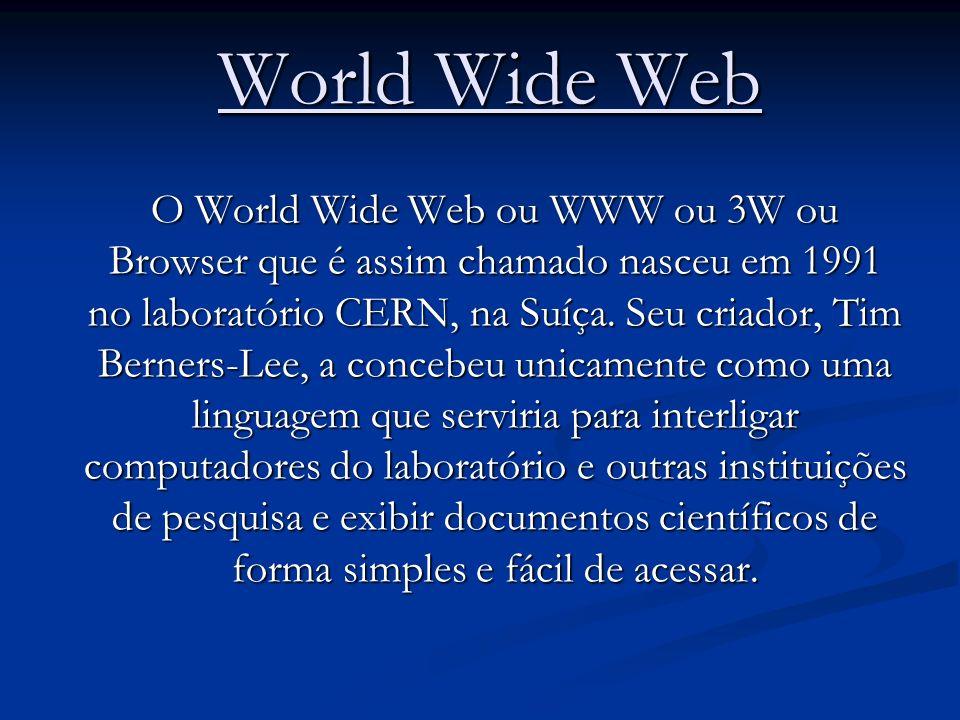 World Wide Web World Wide Web O World Wide Web ou WWW ou 3W ou Browser que é assim chamado nasceu em 1991 no laboratório CERN, na Suíça. Seu criador,