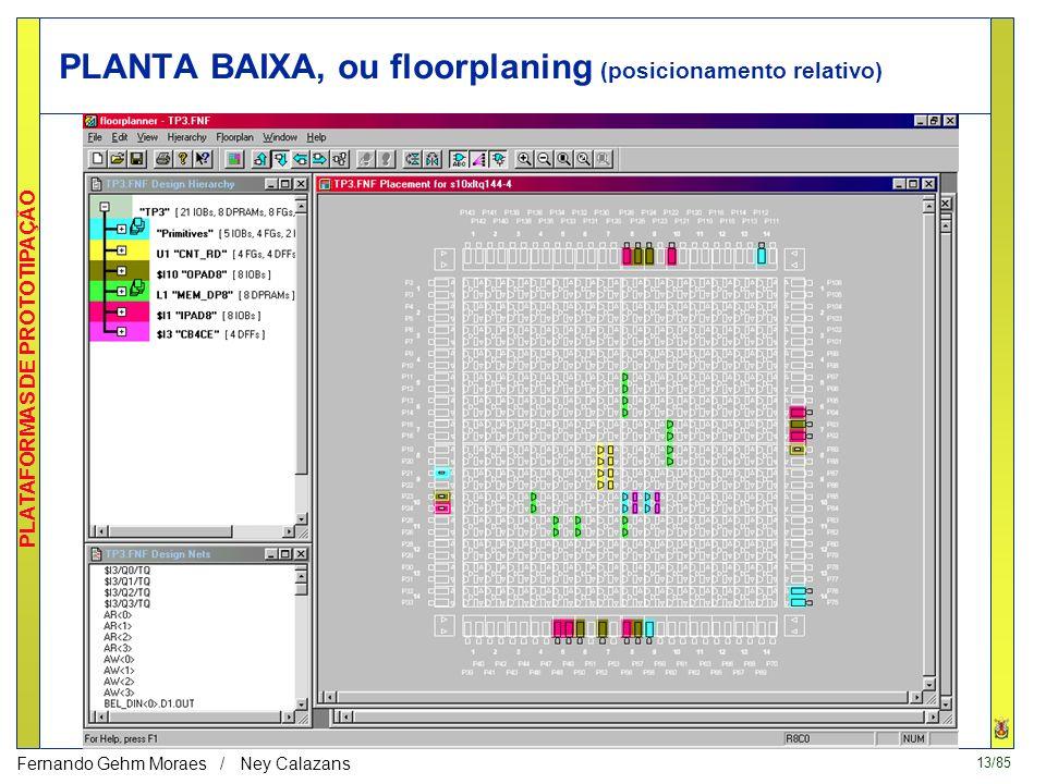 12/85 PLATAFORMAS DE PROTOTIPAÇÃO Fernando Gehm Moraes / Ney Calazans Edição do layout do FPGA visualização da síntese física edição manual análise de