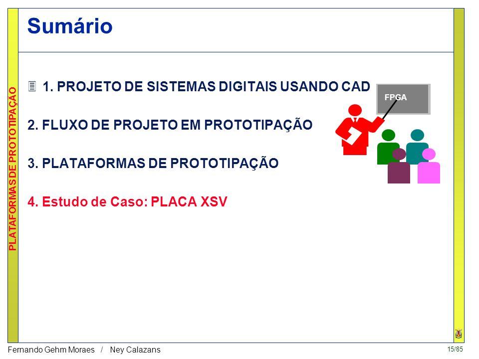 14/85 PLATAFORMAS DE PROTOTIPAÇÃO Fernando Gehm Moraes / Ney Calazans Download A cada utilização –Via cabo serial ou paralelo Permanente –Arquivo de c