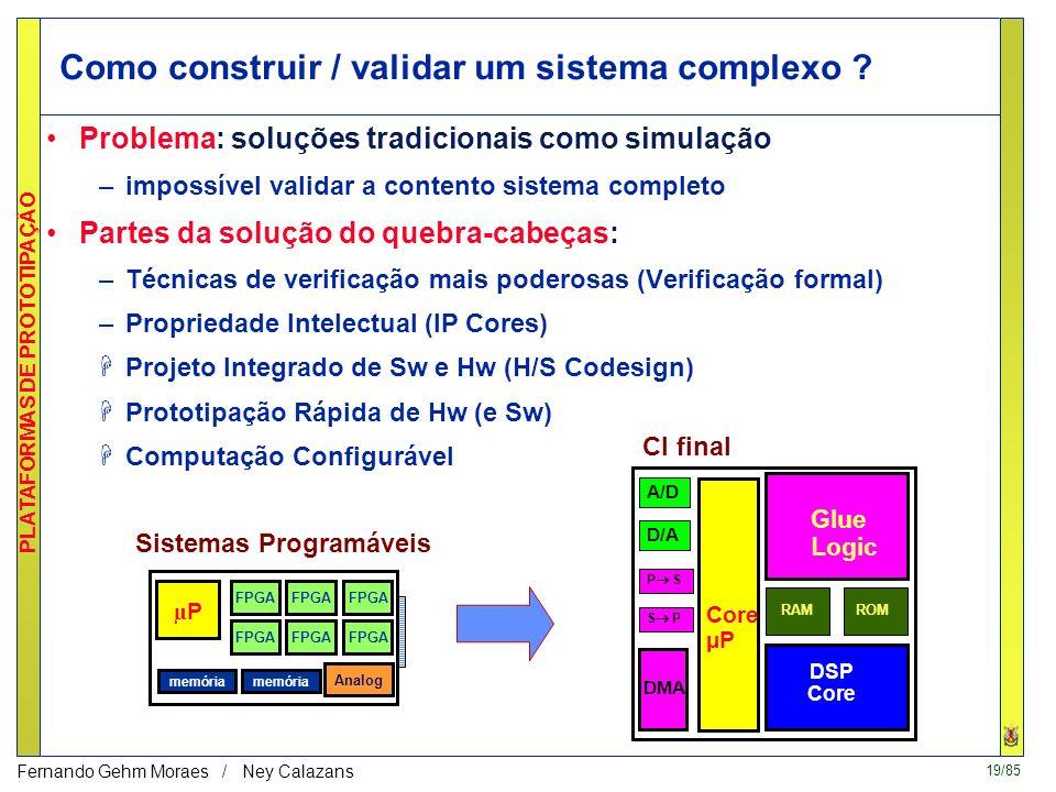 18/85 PLATAFORMAS DE PROTOTIPAÇÃO Fernando Gehm Moraes / Ney Calazans Fluxo de projeto em prototipação Ontem: µPµP memória Sistemas baseados em CIs de
