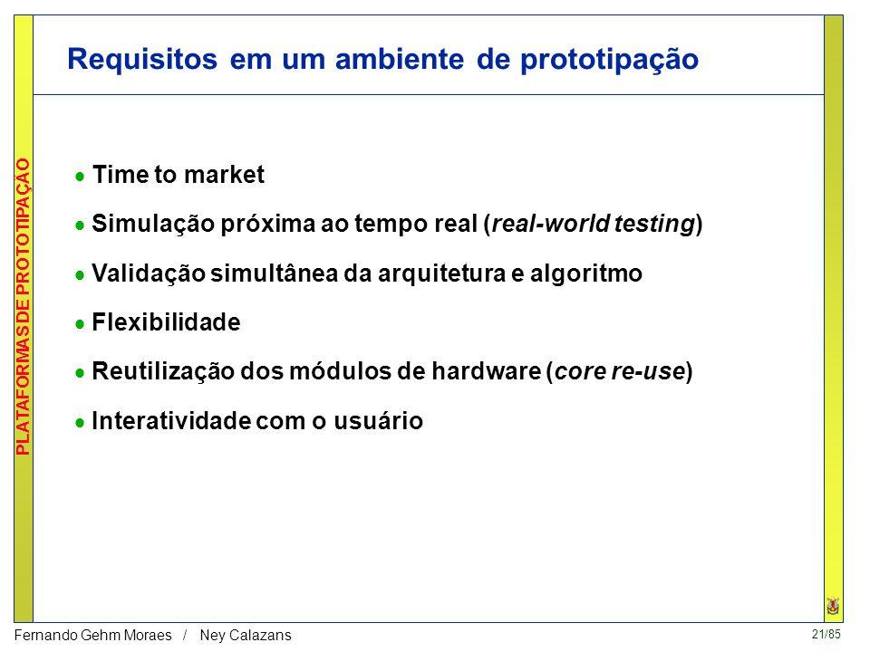 20/85 PLATAFORMAS DE PROTOTIPAÇÃO Fernando Gehm Moraes / Ney Calazans Prototipação rápida Permite a rápida implementação de sistemas digitais complexo