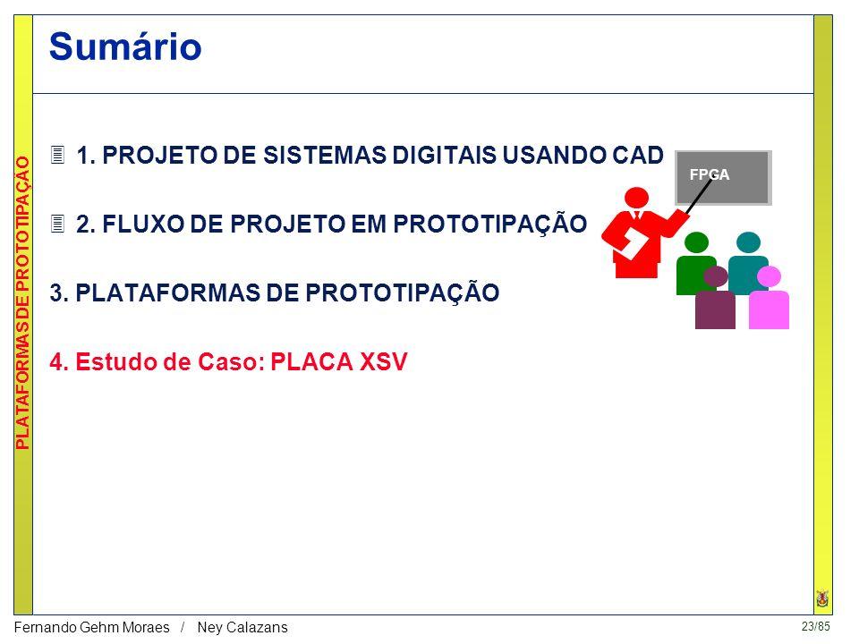 22/85 PLATAFORMAS DE PROTOTIPAÇÃO Fernando Gehm Moraes / Ney Calazans CODESIGN: projeto integrado de hardware e software Co-Simulação Partição Co-Sínt