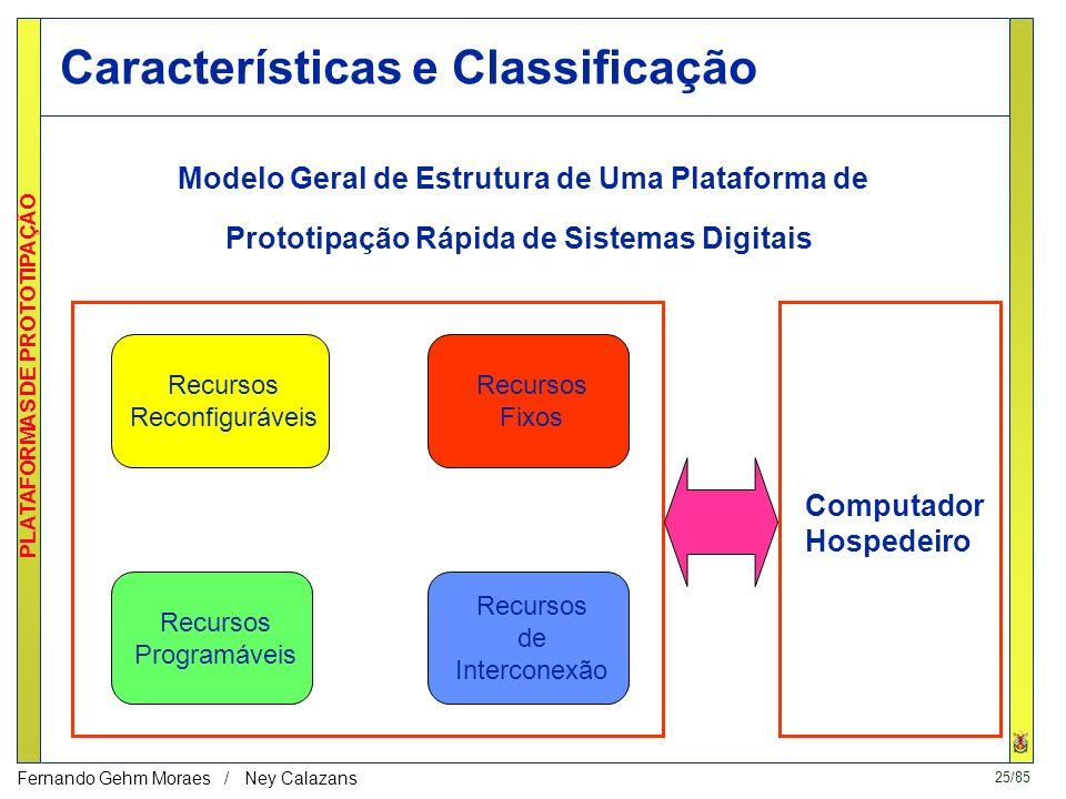 24/85 PLATAFORMAS DE PROTOTIPAÇÃO Fernando Gehm Moraes / Ney Calazans 3 - Plataformas de Prototipação Rápida Plataformas de Prototipação Rápida de Sis