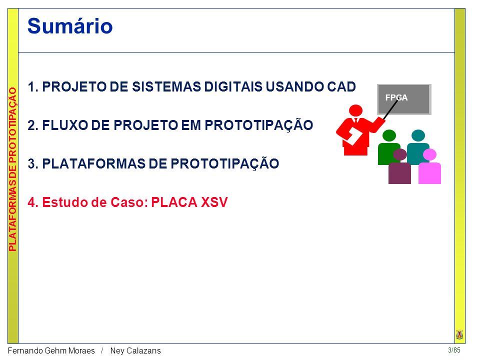 2/85 PLATAFORMAS DE PROTOTIPAÇÃO Fernando Gehm Moraes / Ney Calazans Homepage de fabricantes de PLDs, e.g.: –www.xilinx.com, www.altera.com, www.actel