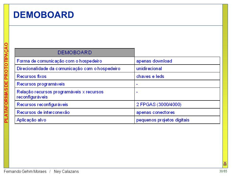 29/85 PLATAFORMAS DE PROTOTIPAÇÃO Fernando Gehm Moraes / Ney Calazans DEMOBOARD: primeira plataforma do GAPH DEMOBOARD (3020/4003 até 4010) –ou, como